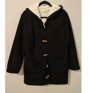 NWOT Denim&Co Black Fleece Pea Coat/Jacket L/XL